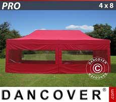 Faltzelt FleXtents PRO 4x8m Rot, mit 6 wänden