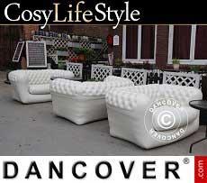 Aufblasbares Sofa, Chesterfield Stil, 2 Sitzer, Weißgrau