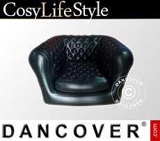 Aufblasbarer Sessel, Chesterfield Stil, Schwarz