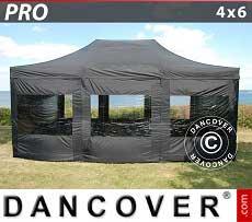 Partyzelt PRO 4x6m Schwarz, mit 8 wänden