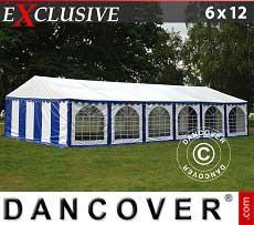Partyzelt Exclusive 6x12m PVC, Blau/Weiß
