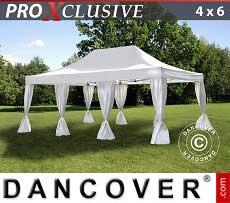 Partyzelt PRO 4x6m Weiß, Mit 8 Vorhänge