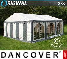 Partyzelt Original 5x6m PVC, Grau/Weiß