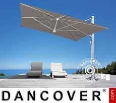 Freiarm-Sonnenschirm Galileo Inox, 3,5x3,5m, Grau taupe