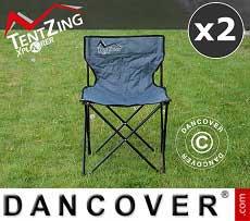 Campingstuhl, zusammenklappbar, TentZing®, Grau, 2 Stück