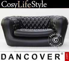 Aufblasbares Sofa, Chesterfield-Stil, 2-Sitzer, Schwarz