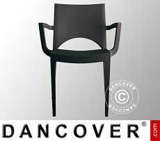 Stuhl mit Armlehnen, Paris, Anthrazit, 6 Stück