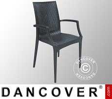Stuhl mit Armlehnen, Rattan Bistrot, Anthrazit, 6 Stück