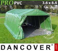 Zeltgarage PRO 3,6x8,4x2,68m PVC mit Bodenplane, Grün / Grau