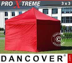 Faltzelt FleXtents Xtreme 3x3m Rot, mit 4 wänden