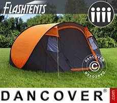 Pop-Up Campingzelt, FlashTents®, 4 Personen, Medium, orange/dunkelgrau