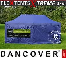 Faltzelt FleXtents Xtreme 3x6m Dunkeblau, mit 6 wänden