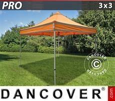 Faltzelt FleXtents PRO Arbeitszelt 3x3m Orange mit Reflektorbändern