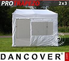 Faltzelt FleXtents PRO Trapezo 2x3m Weiß, mit 4 wänden