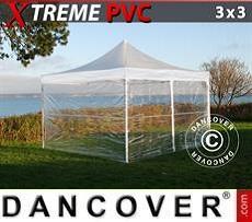 Faltzelt FleXtents Xtreme 3x3m Transparent, mit 4 Wänden