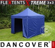 Faltzelt FleXtents Xtreme 3x3m Dunkeblau, mit 4 wänden