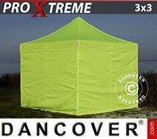 Faltzelt FleXtents Xtreme 3x3m Neongelb/grün, mit 4 wänden