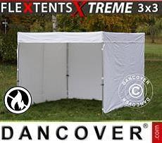 Faltzelt FleXtents® Xtreme Exhibition mit Seitenwänden, 3x3m, weiß, flammfest