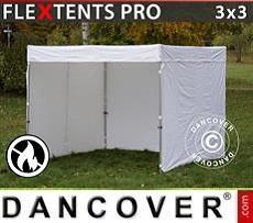 Faltzelt FleXtents® PRO Exhibition mit Seitenwänden, 3x3m, weiß, flammfest