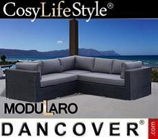 Polyrattan Lounge-Sofa, 3 Module, Modularo, schwarz