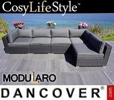 Polyrattan Lounge-Sofa I, 5 Module, Modularo, schwarz