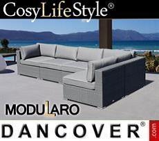 Polyrattan Lounge-Sofa I, 5 Module, Modularo, grau