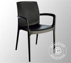 Stuhl mit Armlehnen, Boheme, Anthrazit, 6 Stück