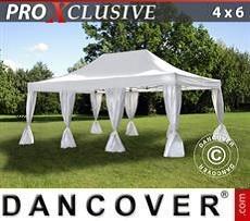 Partyzelte Faltzelt FleXtents PRO 4x6m Weiß, mit 8 Vorhänge