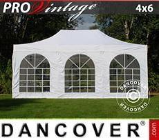 Partyzelte Faltzelt FleXtents PRO Vintage Style 4x6m Weiß, mit 8 wänden