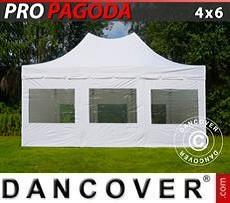 Partyzelte Faltzelt FleXtents PRO Peak Pagoda 4x6m Weiß, inkl. 8 Seitenwände