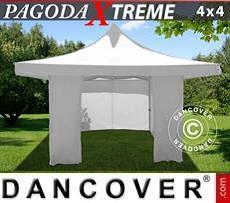 Partyzelte Faltzelt FleXtents Pagoda Xtreme 4x4m / (5x5m) Weiß, mit 4 wänden