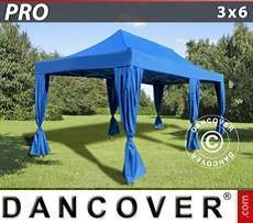 Partyzelte Faltzelt FleXtents PRO 3x6m Blau, inkl. 6 Vorhänge