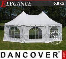 Partyzelte Achtkantiges Partyzelt Elegance 6,8x5 m, Weißgrau
