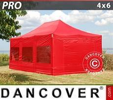 Partyzelte Faltzelt FleXtents PRO 4x6m Rot, mit 8 wänden
