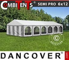 Partyzelt, SEMI PRO Plus CombiTents® 6x12m 4-in-1, Grau/Weiß