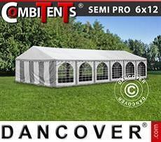 Partyzelt, SEMI PRO Plus CombiTents® 6x12m 4-in-1, Grau/Weiß