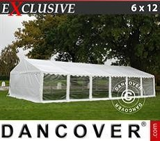 Partyzelt Exclusive 6x12m PVC, Weiß, Panorama