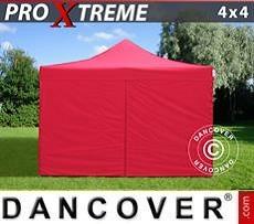 Faltzelt FleXtents Xtreme 4x4m Rot, mit 4 wänden