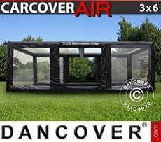 Aufblasbare Garage 3x6m, PVC, schwarz/durchsichtig mit Luftgebläse