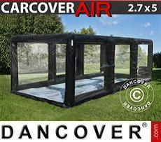 Aufblasbare Garage 2,7x5m, PVC, schwarz/durchsichtig mit Luftgebläse