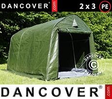 Lagerzelt PRO 2x3x2m PE, mit Bodenplane, Grün/Grau