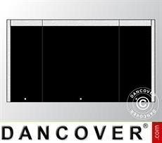 Giebelwand UNICO 3m mit schmaler Tür, Schwarz