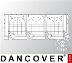 Giebelwand mit großem Fenster und breiter Tür, 6m, PVC, weiß/grau