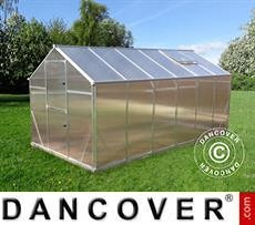 Gewächshaus Polycarbonat SANUS XL-18, 18,56m², 2,9x6,4x2,25m, Silber