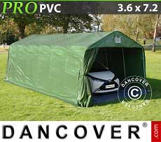 Carpa garaje PRO 3,6x7,2x2,68m PVC, con cubierta de terreno, Verde / Gris