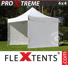 Carpa plegable FleXtents Xtreme 4x4m Blanco, Incl. 4 lados