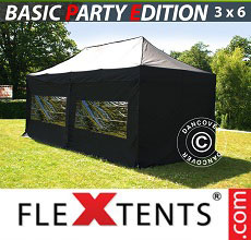 Carpa plegable FleXtents Basic 3x6m Negro, Incl. 6 lados