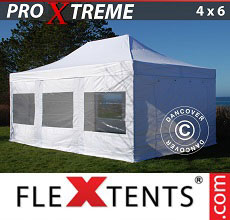 Carpa plegable FleXtents Xtreme 4x6m Blanco, Incl. 8 lados