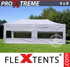 Carpa plegable FleXtents Xtreme 4x8m Blanco, Incl. 6 lados