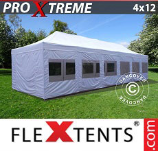 Carpa plegable FleXtents Xtreme 4x12m Blanco, Incl. lados